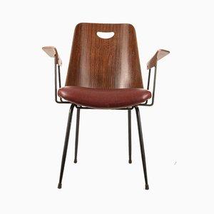 Chaise de Bureau en Palissandre et Similicuir, années 50