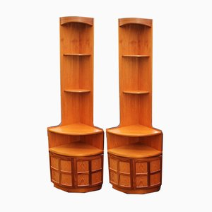 Teak Corner Shelves, 1980s, Set of 2