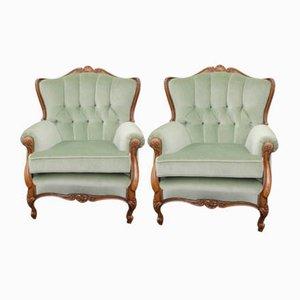 Sessel mit Gestell aus Nussholz, 1940er, 2er Set