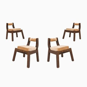 Italian Walnut Dining Chairs, 1950s, Set of 4