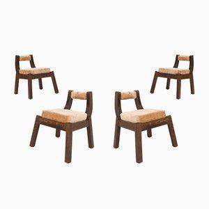 Italienische Esszimmerstühle aus Nussholz, 1950er, 4er Set