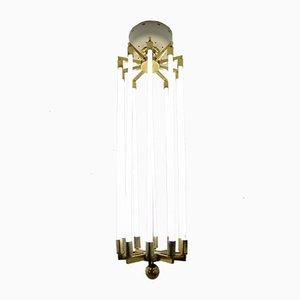 Lámpara de araña alemana grande de latón de Kaiser & Co, años 40