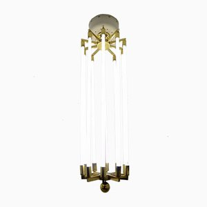 Large German Brass Chandelier from Kaiser and Co, 1940s