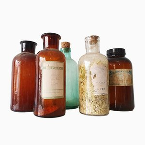 Vintage Pharmacy Jars, 1950s, Set of 14