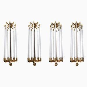 Lámparas de araña alemanas grandes de latón de Kaiser & Co, años 40. Juego de 4