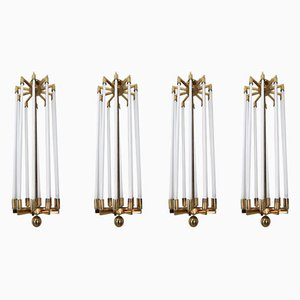 Large German Brass Chandeliers from Kaiser and Co, 1940s, Set of 4