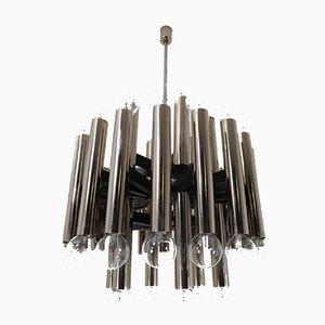 Lámpara de araña alemana Mid-Century grande de acero, años 60