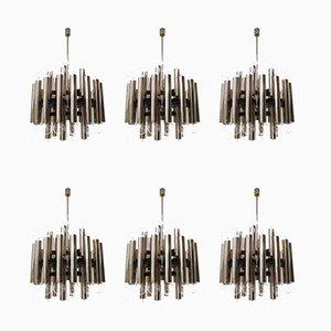 Lámparas de araña alemanas Mid-Century de acero, años 60. Juego de 6