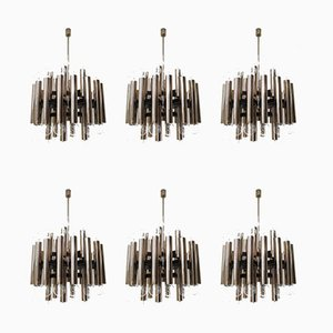 Mid-Century German Steel Chandeliers, 1960s, Set of 6
