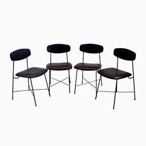 Italienische Esszimmerstühle aus Kunstleder & Eisen, 1950er, 4er Set