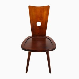 French Wooden Dining Chair, 1950s