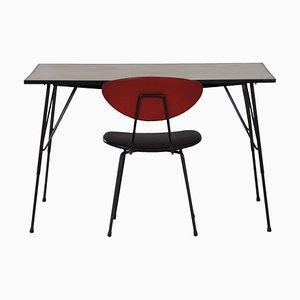 Silla de escritorio y escritorio de Rudolf Wolf para Elsrijk, años 60. Juego de 2