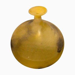 Jarrón Mid-Century de cristal de Murano amarillo de Cenedese, años 70