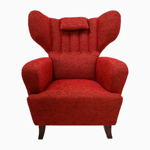 Mid-Century Austrian Red Wingback Lounge Chair, 1940s