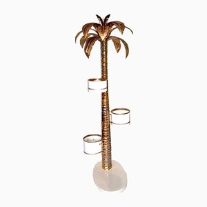 Vintage Brass Palm Floor Lamp with Flower Planters, 1960s