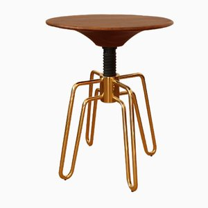 Brass & Walnut Philip stool by Jader Almeida
