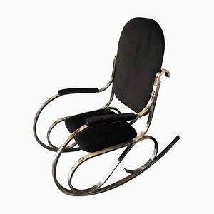 Mid-Century Italian Chrome and Black Velvet Rocking Chair, 1970s