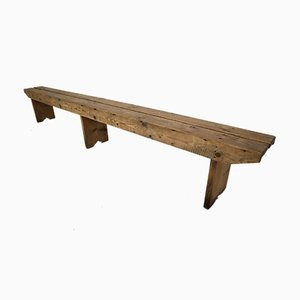 Large Antique Pine Wood Bench