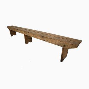 Large Antique Pine Wood Bench