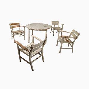 Conjunto de mesa y sillas de jardín alemán vintage de madera de Heinrich Hammer, años 30
