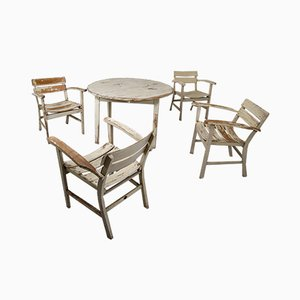 Vintage German Wooden Garden Table and Chairs Set by Heinrich Hammer, 1930s