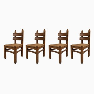 Mid-Century Brutalist Oak and Straw Dining Chairs, Set of 4