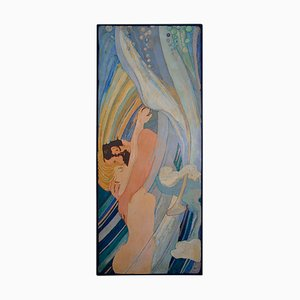 Italian Artistic Decorated Scagliola Art Inlay Wall Panel by Cupioli