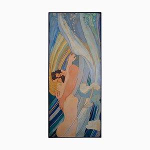 Panneau Art Déco Artistique Décoré Scagliola par Cupioli, Italie