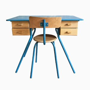 Childrens Desk and Chair Set, 1950s
