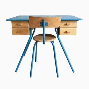 Juego de silla y escritorio para niños, años 50