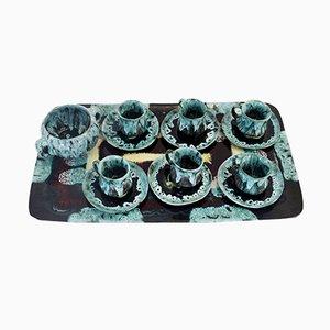 Juego de café italiano de cerámica esmaltada de Flora, años 60