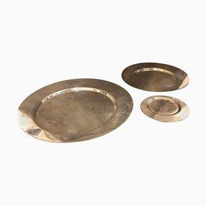 Piatti placcati in argento di Gio Ponti per Cleto Munari, anni '70, set di 3