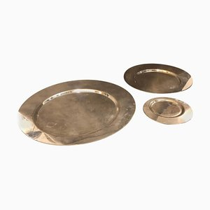 Silver Plated Plates by Gio Ponti for Cleto Munari, 1970s, Set of 3