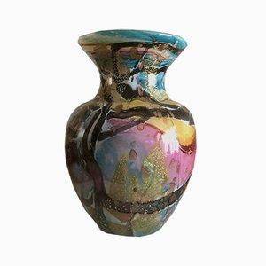 Vase Vintage en Verre et en Or, France, années 70