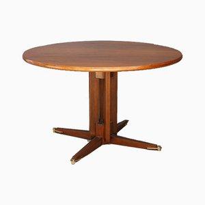 Mesa de comedor italiana Mid-Century de madera y latón, años 50