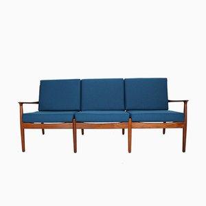 Sofá de tres plazas danés de teca de Grete Jalk para Glostrup, años 60