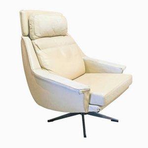 Sedia girevole in pelle, anni '60