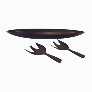 Danish Black Melanine Salad Set, 1960s