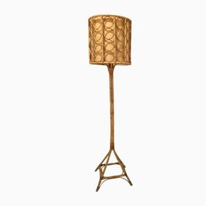 Lámpara de pie de bambú, años 60