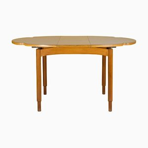 Italian Extendable White Plastic Laminate Wood Dining Table, 1960s
