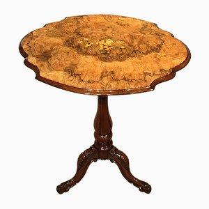 Table d'Appoint Victorienne Ancienne en Broussin de Noyer