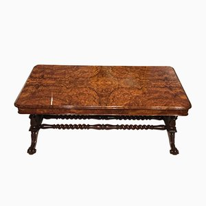 Antique Victorian Burl Walnut Coffee Table