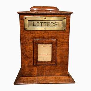 Caja de madera eduardiana antigua de roble