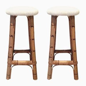 Bamboo Bar Stools, 1960s, Set of 2