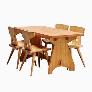 Juego de mesa y sillas de comedor de Jacob Kielland-Brandt para I. Christiansen, años 60. Juego de 4