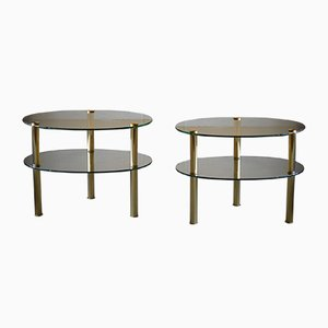 Brass and Crystal Nightstands from Riva Cantù, 1970s, Set of 2