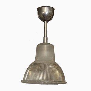 Lámpara colgante francesa industrial vintage de Holophane, años 40