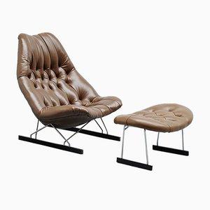 Juego de sillón y otomana modelo F592 de Geoffrey D Harcourt para Artifort, años 60