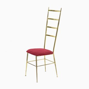 Regency Style Italian Brass Chiavari Side Chair, 1960s