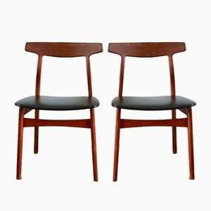 Scandinavian Teak Dinning Chairs by Henning Kjærnulf for Bruno Hansen, 1960s, Set of 2